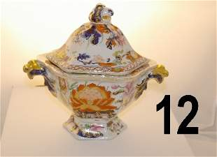 Early porcelain covered sauce dish, noting age craz