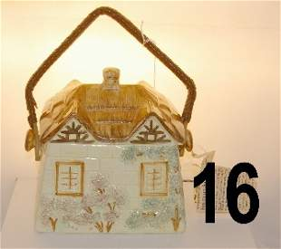 Handpainted biscuit barrel made by Keele St. Potter