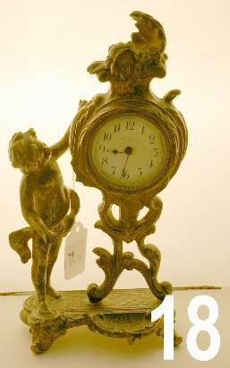 White metal figural Victorian New Haven, USA clock