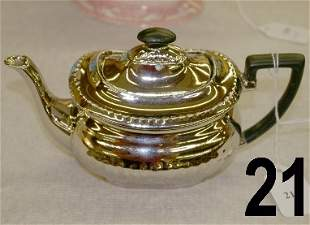 Devonware single cup teapot with silver overlay w/e