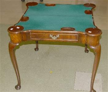 356: Mahogany Queen Anne style games table