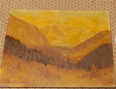 344: Franz Johnston, oil on board, Mountain landscape,