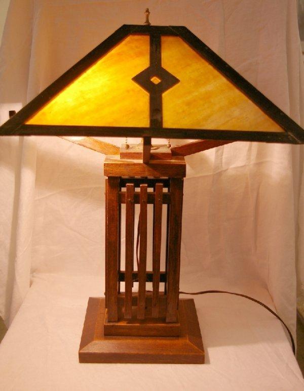 "1168: Mission Oak Lamp, measures 23"" h."
