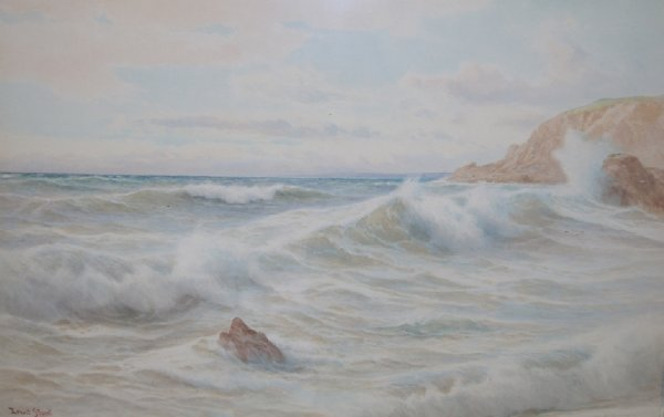 """1177: Ernest Stuart, Watercolour, Seascape, 19"""" x 29"""""""