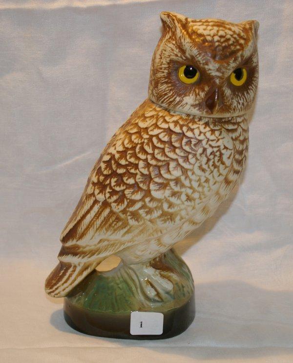 "1001: James Bean, Owl Decanter, measures 10"""