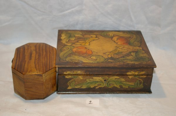 """1002: Handpainted box measures 7 1/2"""" x 6"""" and a box fr"""