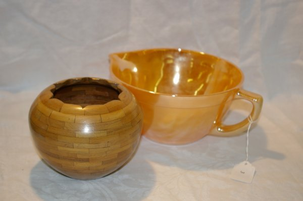 1003: Handmade bowl signed, Howson, Fire King mixing bo