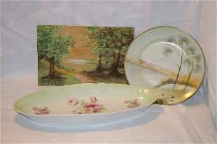 """Tray of handpainted china and a pastel picture 9"""""""
