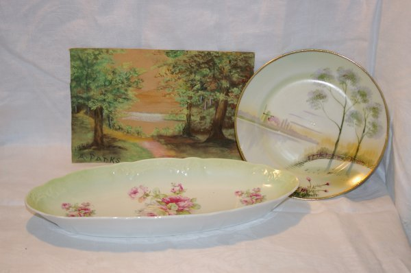 """1004: Tray of handpainted china and a pastel picture 9"""""""