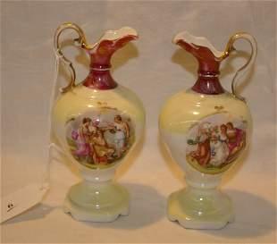 """Pair of handpainted urns, measures 5"""""""