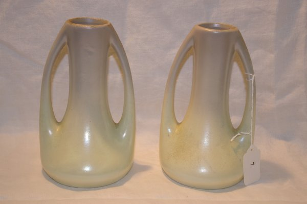"""1007: Pair of pottery vases 7"""" marked 2/3, impressed 18"""