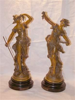 Pair of 16 in. Spelter figures Amphitrite par Aug
