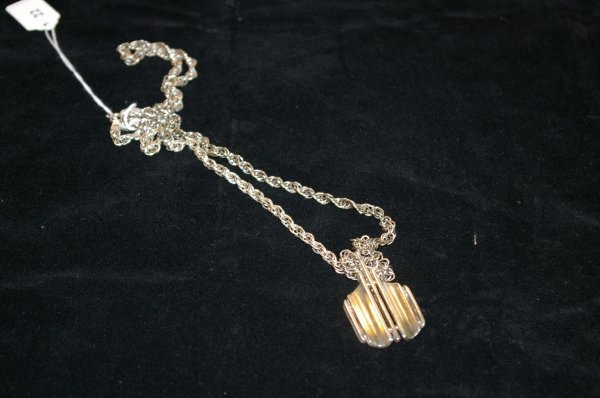 1022: 15 in. Sterling rope chain with sterling pendant