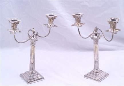 173: Pair of hallmarked London 2 branch candelebras