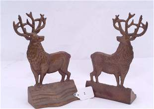 """Pair of buck bookends, measures 8"""" h."""