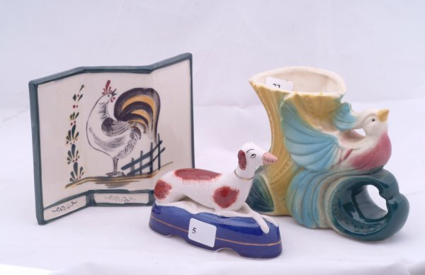 """5: Staffordshire style dog, measures 3 1/2"""" h., pottery"""