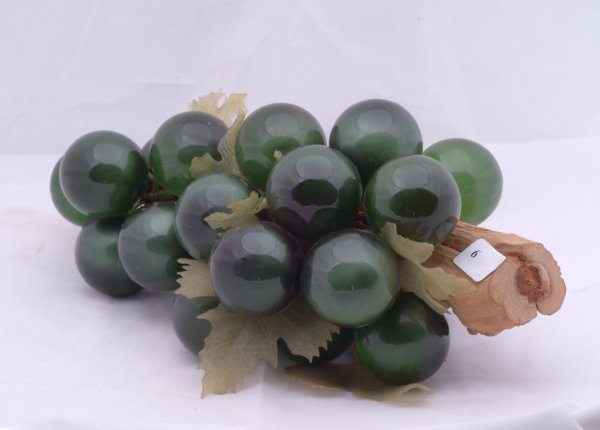 """6: Glass balls depicting grapes, measures 12"""" l."""