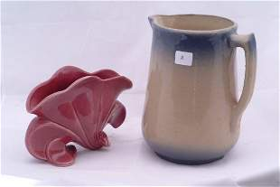 """Pottery style pitcher, measures 8"""" h. and a pottery"""