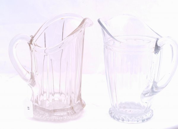 """11: 3 Various glass water pitchers, measures 8"""" h."""