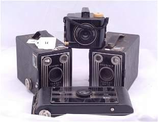 A Jiffy Kodak 6-16 and 2 brownie target 6-20 camera