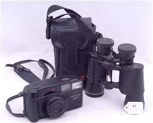 Pentax Zoom 90 35 mm camera in case and Pentax bino