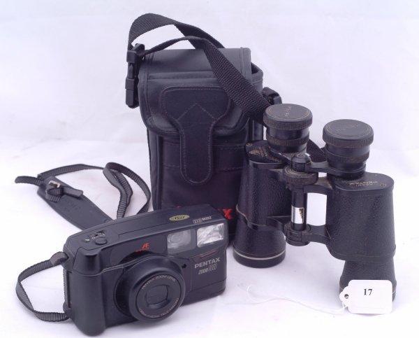 17: Pentax Zoom 90 35 mm camera in case and Pentax bino