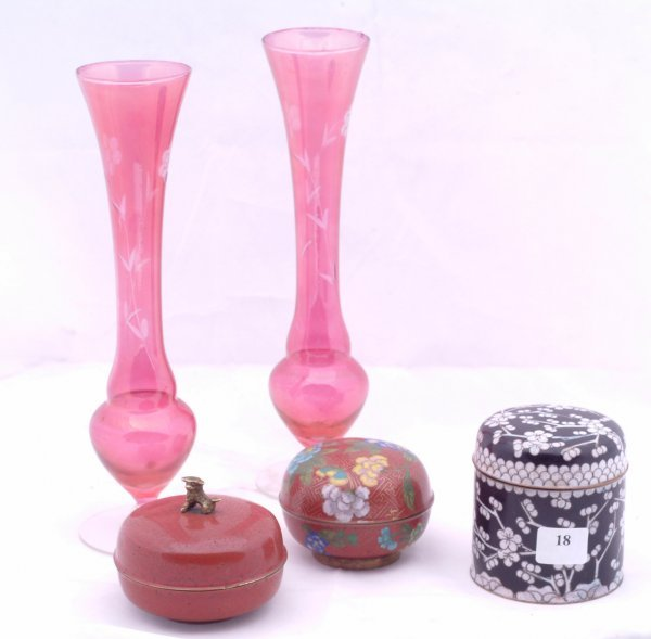18: 3 Cloisonne covered containers and cranberry etched