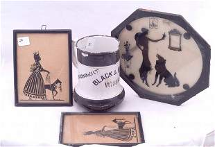 3 Silhouettes and a Black & White Enamel Whiskey Ju