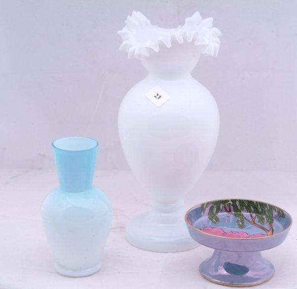23: Depression creamer and sugar, white Bristol vase an