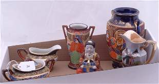 Noritake footed dish and a collection of Satsuma pi