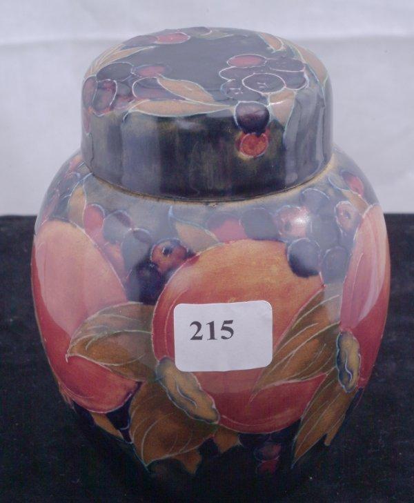 215: Moorcroft covered ginger jar signed Green, measure