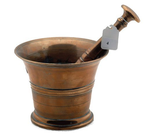 "Solid Copper mortar and pestle, measures 5 1/2"" h., 7"""