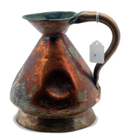 7: J.M. Naughton, Edinburgh Copper pitcher, measures 9""