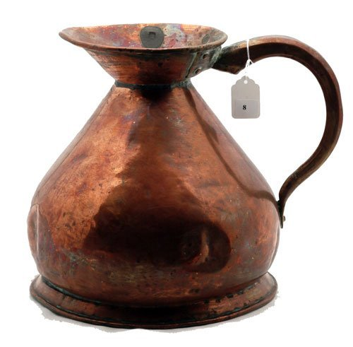 8: Copper two gallon pitcher, measures 12""