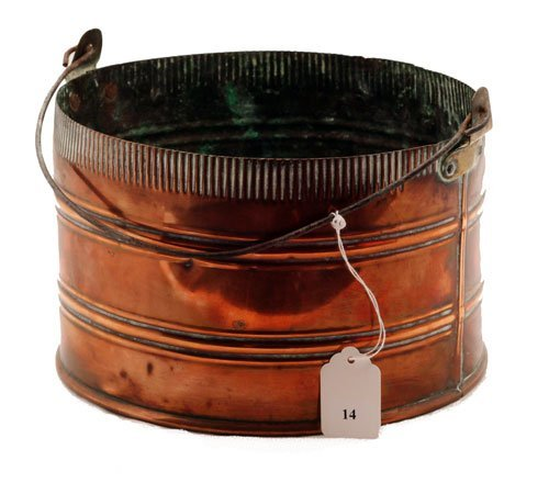 "14: Copper pail, measures 6"" h., 9"" dia. *noting wear"
