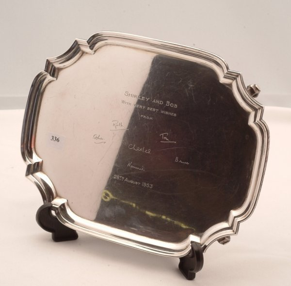 336: Sterling hallmarked Mappin & Webb footed tray, mea