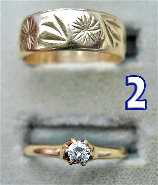 Ladies 10 kt. Gold Wedding Band and Solitaire Dia
