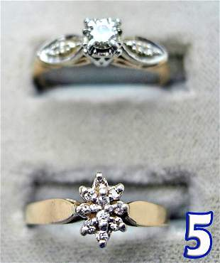 3 Ladies 10 kt. Gold and Diamond Rings