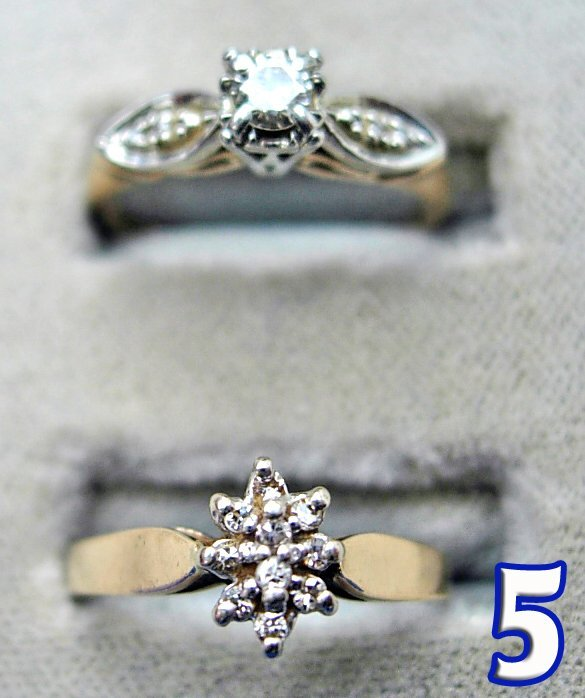 1005: 3 Ladies 10 kt. Gold and Diamond Rings
