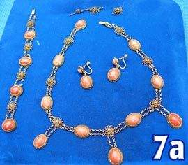 Coral Necklace, Bracelet & Earrings