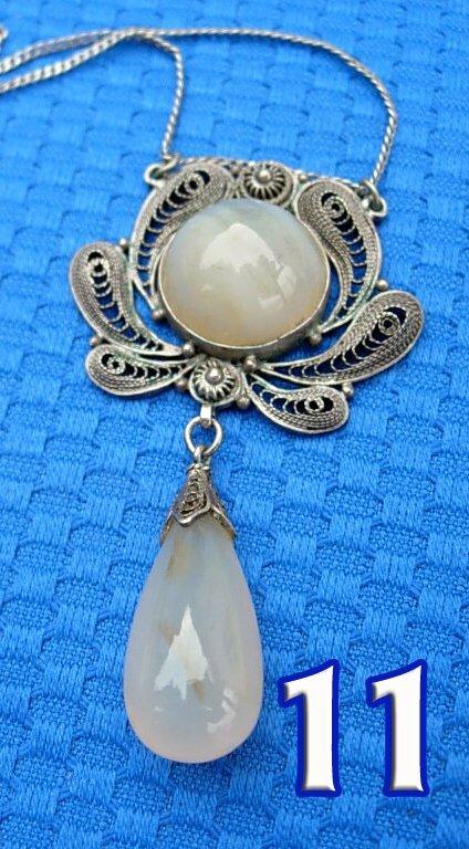 1011: A Victorian Filigree Agate Pendant