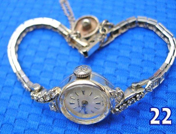 1022: 14 k White Gold Ladies Birks Wrist Watch