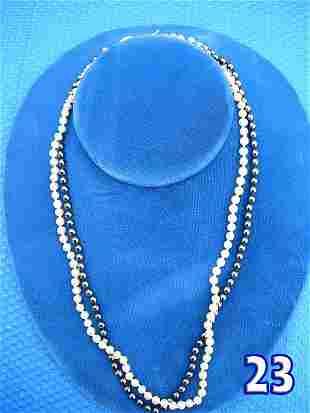 "Ladies 18 1/2"" Pearl & Hematite Necklace"