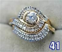 1041: Ladies 14 k Diamond Engagement Ring and Wedding B