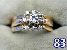 1083: Ladies 14 k Gold Diamond Ring