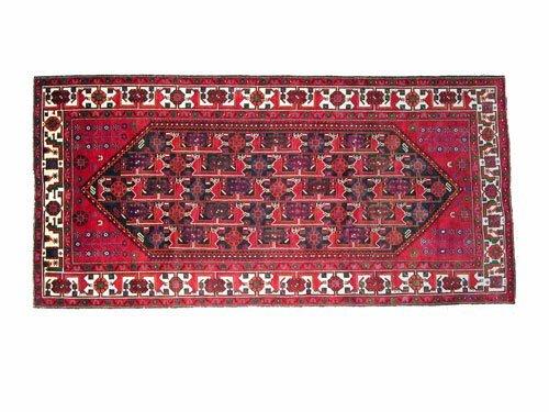 "1001: Kordi Persian Rug  10'3"" x 5'0""  Black ground wit"