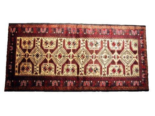 "1003: Balooch Persian Rug  8'6"" x 3'11"" Beige ground wi"