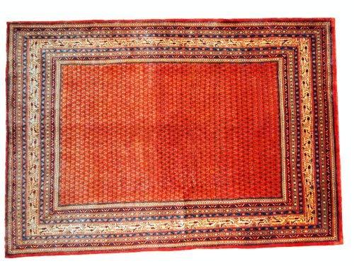 "1004: Arak Persian Rug  10'5"" x 7'3"" Orangey red ground"