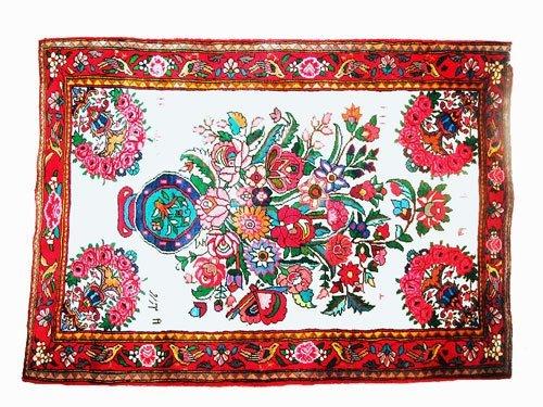 "1007: Esfahan Persian Rug  5'0"" x 3'6""  Beige ground wi"