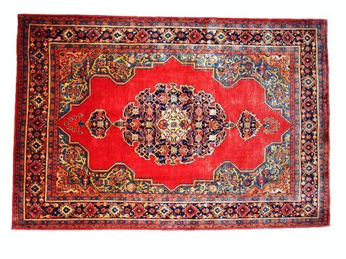 """1008: Veece Persian Rug  10'11"""" x 7'4""""Red ground with n"""